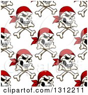 Poster, Art Print Of Seamless Background Pattern Of Pirate Skulls And Crossbones With Red Bandanas