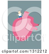 Flat Design Of A White Man Running On A Human Heart On Blue