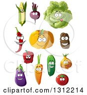 Clipart Of A Corn Beet Cabbage Chili Pumpkin Potato Bell Pepper Carrot Cucumber Onion Eggplant And Tomato Characters Royalty Free Vector Illustration