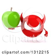 Clipart Of A 3d Red Devil Head Holding A Green Apple Royalty Free Illustration