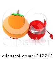 Clipart Of A 3d Red Devil Head Holding Up An Orange Royalty Free Illustration