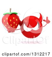 Clipart Of A 3d Red Devil Head Holding Up A Finger And A Strawberry Royalty Free Illustration