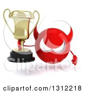 Clipart Of A 3d Red Devil Head Holding A Trophy Royalty Free Illustration