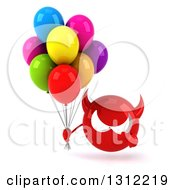 Clipart Of A 3d Red Devil Head Holding And Pointing To Party Balloons Royalty Free Illustration
