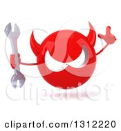 Clipart Of A 3d Red Devil Head Holding Up A Finger And A Wrench Royalty Free Illustration