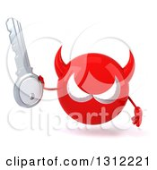 Clipart Of A 3d Red Devil Head Holding A Key Royalty Free Illustration
