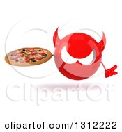 Clipart Of A 3d Red Devil Head Shrugging And Holding A Pizza Royalty Free Illustration
