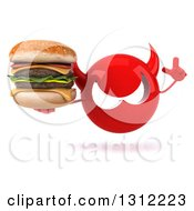 Clipart Of A 3d Red Devil Head Holding Up A Finger And A Double Cheeseburger Royalty Free Illustration