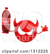 Clipart Of A 3d Red Devil Head Jumping And Holding A Soda Bottle Royalty Free Illustration