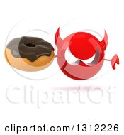 Clipart Of A 3d Red Devil Head Holding A Thumb Down And A Chocolate Frosted Donut Royalty Free Illustration