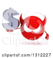 Clipart Of A 3d Red Devil Head Holding A Dollar Symbol Royalty Free Illustration