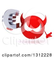 Clipart Of A 3d Red Devil Head Shrugging And Holding A Euro Symbol Royalty Free Illustration