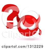 Clipart Of A 3d Red Devil Head Holding A Question Mark Royalty Free Illustration