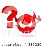 Clipart Of A 3d Red Devil Head Holding Up A Finger And A Question Mark Royalty Free Illustration