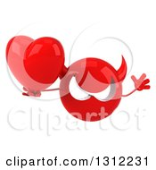 Clipart Of A 3d Red Devil Head Jumping And Holding A Heart Royalty Free Illustration