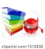Clipart Of A 3d Red Devil Head Holding Up A Stack Of Books Royalty Free Illustration