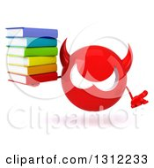 Clipart Of A 3d Red Devil Head Shrugging And Holding A Stack Of Books Royalty Free Illustration