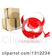 Clipart Of A 3d Red Devil Head Shrugging And Holding Boxes Royalty Free Illustration
