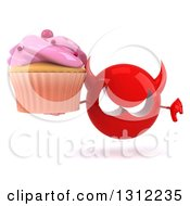 Clipart Of A 3d Red Devil Head Holding A Thumb Down And A Pink Frosted Cupcake Royalty Free Illustration