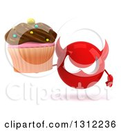 Clipart Of A 3d Red Devil Head Holding A Chocolate Frosted Cupcake Royalty Free Illustration