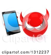 Clipart Of A 3d Red Devil Head Holding Up A Smart Cell Phone Royalty Free Illustration