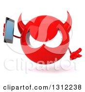 Clipart Of A 3d Red Devil Head Shrugging And Holding A Smart Cell Phone Royalty Free Illustration
