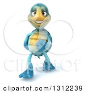 Clipart Of A 3d Happy Blue Tortoise Walking Upright Royalty Free Illustration