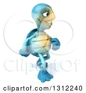 Clipart Of A 3d Happy Blue Tortoise Walking To The Right Royalty Free Illustration