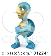 Clipart Of A 3d Happy Blue Tortoise Walking To The Left Royalty Free Illustration