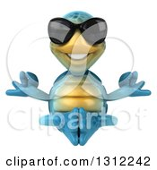 Clipart Of A 3d Happy Blue Tortoise Wearing Sunglasses And Meditating Royalty Free Illustration
