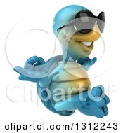 Clipart Of A 3d Happy Blue Tortoise Wearing Sunglasses Facing Right And Meditating Royalty Free Illustration
