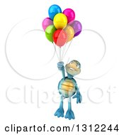 3d Happy Blue Tortoise Floating With Party Balloons