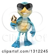 Clipart Of A 3d Happy Blue Tortoise Wearing Sunglasses And Holding A Waffle Ice Cream Cone Royalty Free Illustration