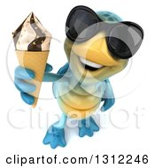 3d Happy Blue Tortoise Wearing Sunglasses And Holding Up A Waffle Ice Cream Cone