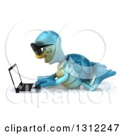 3d Happy Blue Tortoise Wearing Sunglasses Facing Left Using A Laptop On The Floor