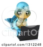 Clipart Of A 3d Happy Blue Tortoise Using A Laptop On The Floor Royalty Free Illustration