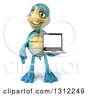 3d Happy Blue Tortoise Holding A Laptop With A Blank Screen