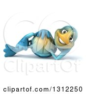 Clipart Of A 3d Happy Blue Tortoise Resting On His Side Royalty Free Illustration by Julos
