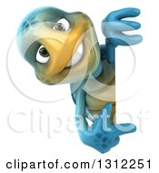 3d Happy Blue Tortoise Pointing Around A Sign