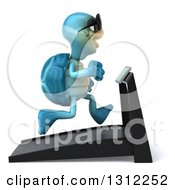 3d Happy Blue Tortoise Wearing Sunglasses Facing Right And Running On A Treadmill