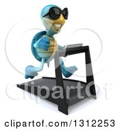3d Happy Blue Tortoise Wearing Sunglasses Facing Slightly Right And Running On A Treadmill