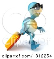 3d Happy Blue Tortoise Wearing Sunglasses And Walking To The Right With Rolling Luggage