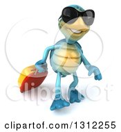 3d Happy Blue Tortoise Wearing Sunglasses And Walking With Rolling Luggage
