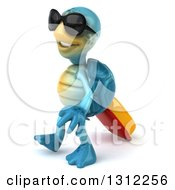 3d Happy Blue Tortoise Wearing Sunglasses And Walking To The Left With Rolling Luggage