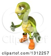 Clipart Of A 3d Tortoise Turtle Gardener Facing Left And Giving A Thumb Up Royalty Free Illustration