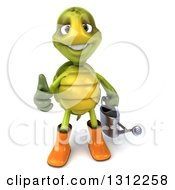Clipart Of A 3d Tortoise Turtle Gardener Holding A Watering Can And Giving A Thumb Up Royalty Free Illustration