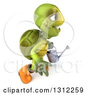 3d Tortoise Turtle Gardener Holding A Watering Can And Walking To The Right