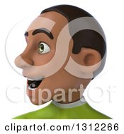 Clipart Of A 3d Avatar Of A Young Black Male Super Hero In A Green Suit Facing Left Royalty Free Illustration