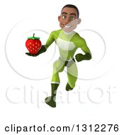 Clipart Of A 3d Young Black Male Super Hero In A Green Suit Sprinting And Holding A Strawberry Royalty Free Illustration