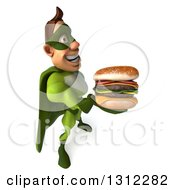 Clipart Of A 3d Caucasian Green Super Hero Man Facing Right And Holding Up A Double Cheeseburger Royalty Free Illustration by Julos